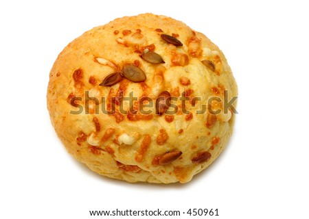 Wholegrain bun with sunflower seeds and cheese.
