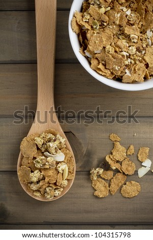 Wholegrain cereals on rustic table