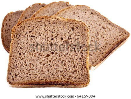 wholemeal bread, completely isolated on white background