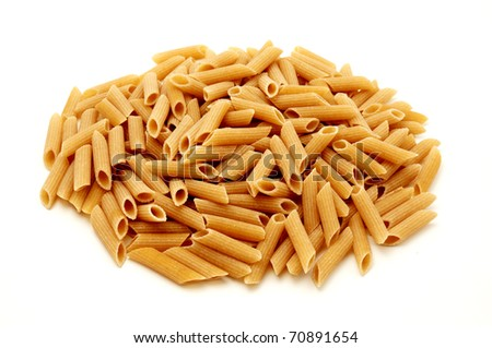 Wholemeal pasta on a white background