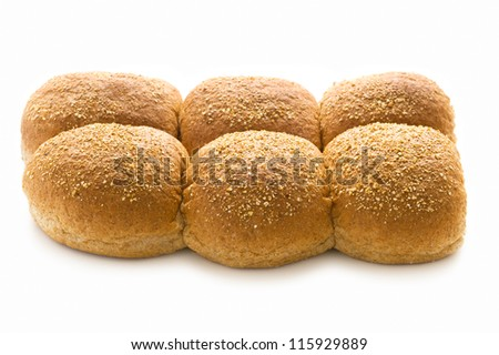 wholewheat bread rolls isolated on a white background