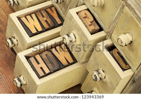 why and how questions -  vintage letterpress wood type blocks and primitive rustic wooden apothecary drawer cabinet