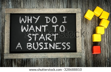 Why do I Want to Start a Business? written on chalkboard #328688810