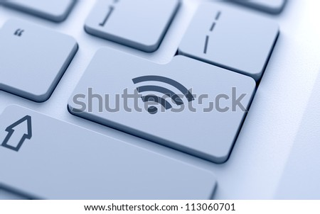 WI-FI button on keyboard with soft focus