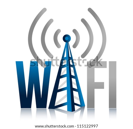Wi fi Tower illustration design sign over white