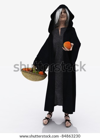 Wicked stepmother from Snow White offering the poisoned apple