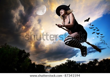 Wicked witch flying on broomstick with bats behind her and moon nearby in the evening dramatic sky background. Free space for text