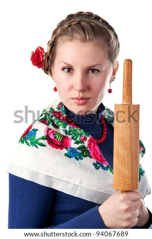 wicked woman in the ukrainian style isolated on a white background