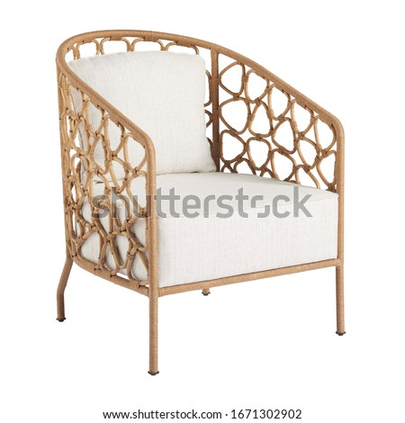Wicker Accent Chair Isolated on White Background. Patio Armchair & Outdoor Furniture. Rattan Loungers. Pool Recliners. Garden Reclining Chairs. Beach Long Chair with Arm Handles and Soft Cushions