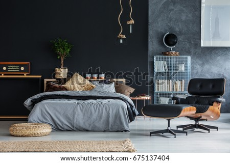Wicker accessories in black and grey modern bedroom #675137404