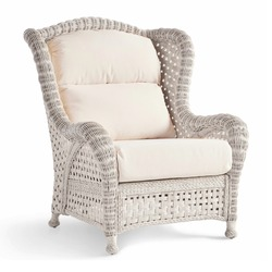Wicker Armchair Isolated on White. Side View Dining Arm Chair with Cotton Fabric Cushion Seat in Gray & Beige. Patio Furniture. All-Weather Outdoor Weave Rattan Loveseat. Outdoor Beach Chair
