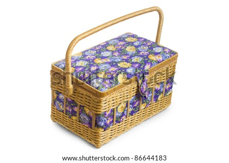 wicker basket casket isolated on white background
