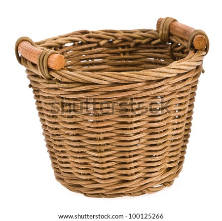 Wicker basket isolated on white background .