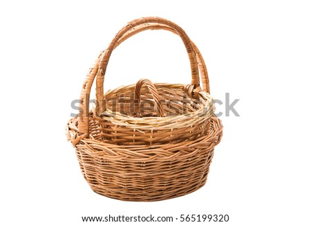 wicker basket isolated on white background Stock fotó ©