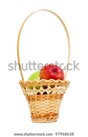 wicker basket with apples, white background, isolated