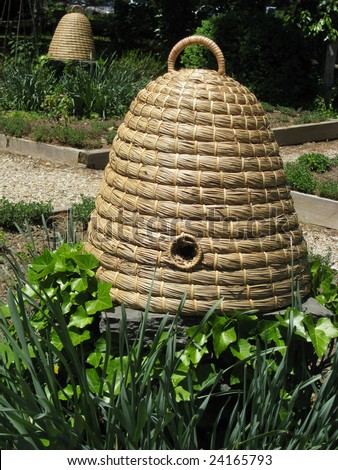Wicker bee hive.