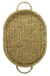 Wicker brown oval basket with handles isolated on a white background. Top view. Selective focus. Handmade product, craft. Close-up.