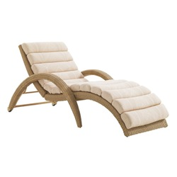 Wicker Chaise Lounge Isolated on White Background. Beach Long Chair with Arm Handles and Soft Cushions. Patio and Outdoor Furniture. Rattan Loungers. Pool Recliners. Garden Reclining Chairs