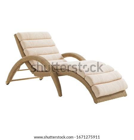Wicker Chaise Lounge Isolated on White Background. Beach Long Chair with Arm Handles and Soft Cushions. Patio and Outdoor Furniture. Rattan Loungers. Pool Recliners. Garden Reclining Chairs Foto stock ©