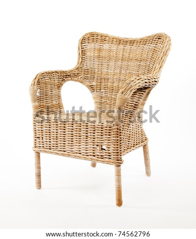 Wicker comfortable chair isolated on white background