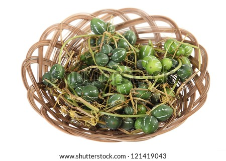 wicker dish with dwarf watermelon on a white background
