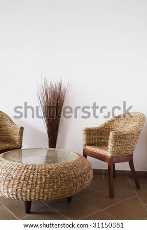 Wicker furniture - stock photo