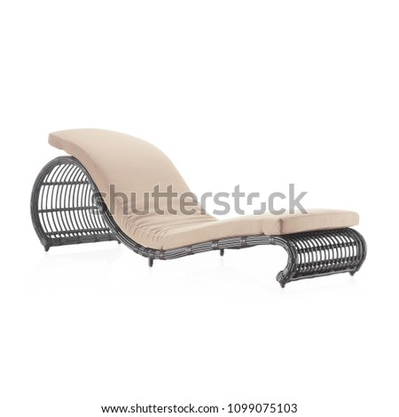 Wicker Pool Chaise Lounge Chair Isolated on White Background. Side View of Rattan Sun Lounger. Garden Wicker Reclining Chairs. Pool Recliners. Patio and Outdoor Furniture. Beach Long Chair