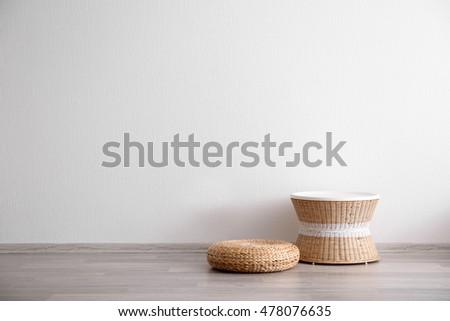 Wicker stool in light room interior #478076635