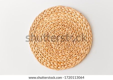 Wicker straw stand isolated on white background. Flat lay, top view minimal social media template Stock photo ©