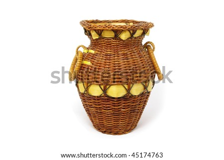 Wicker vessel on white background