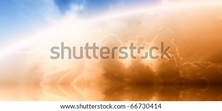 Wide abstract background - bright glowing rainbow and two stars in the clouds - stock photo