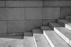Wide, abstract, geometric fine art photography shots of granite, stone, or cement stairs and steps in black and white from city monuments and landmarks.