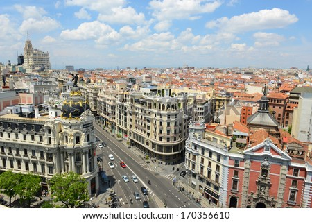 Wide angle aerial view of Madrid City at the Calle de Alcala and Gran Via Madrid Spain Metropolis Building Edificio Metropolis and Telefonica Building are at both sides of Gran Via