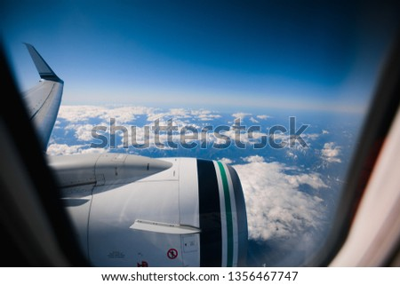 Wide angle airplane photos during travel vacation #1356467747