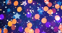 Wide Angle Beautiful Celebration background With Multi colored Bokeh Light. Colorful background for design card to Christmas, New Year, anniversary and birthday. Concept of holiday, happiness and joy