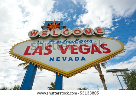 Wide angle closeup of the Welcome to Las Vegas sign.
