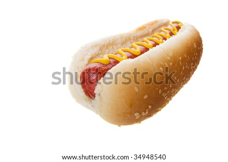 Wide angle hot dog on a white background