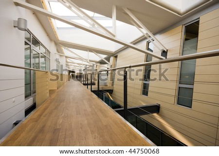Wide angle image of clean corridor in modern office building