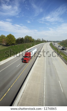 Wide Angle (16mm) shot of Semi on the Highway with Copy Space