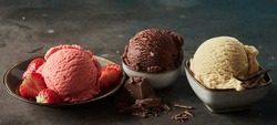 Wide angle of collection of delicious gelati with fresh strawberries and grated chocolate with aromatic vanilla pod