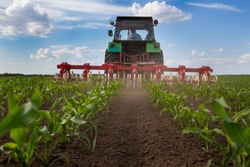 Wide angle of tractor with plowing equipment in corn field in spring time