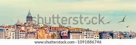 Wide angle panorama of Istanbul with Galata Tower at skyline and seagulls over the old town. Panoramic view on medieval tower as travel background for banner with space for your text on the top. #1091886746