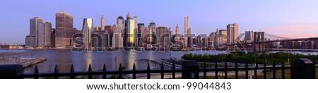 Wide angle panorama of new york city