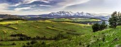 Wide-angle panorama of Slovakia Tatra Mountains with meadow, Belianske Tatry. Landscape photo of spring nature in Slovakia, mountains covered with fresh snow, green grass, blue sky with white clouds.