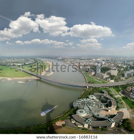 Wide angle picture of river Rhine, Duesseldorf and Landtag (government). Seen from the television tower Rheinturm, Germany