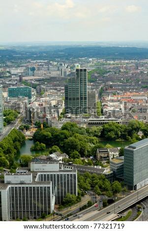 Wide angle picture of river Rhine, Duesseldorf. Seen from the television tower Rheinturm, Germany . Duesseldorf mediahafen (harbour) in Rheinland-Westphalia