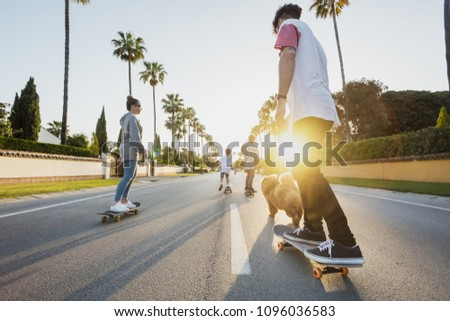 wide angle picture of the family with the dog from the back riding on skateboards on a street with palm trees on a sunset  #1096036583
