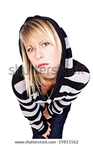 Wide Angle Shot of a Beautiful Blonde Girl in Black and White Stripped Hooded Top Leaning into Camera