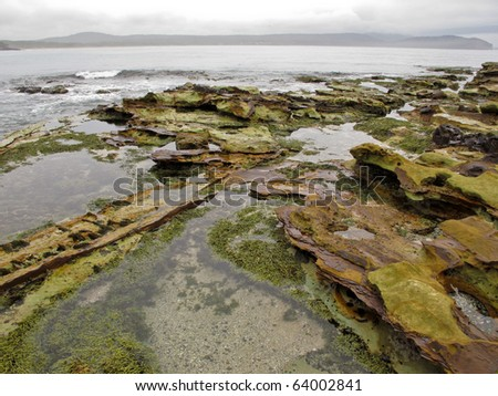 wide angle shot of a rocky tidal shore in australia