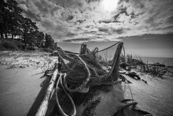 Wide angle shot of fishing net